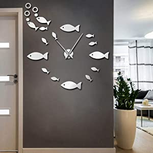 The Geeky Days Fish with Bubble DIY Giant Wall Clock Mirror Effect Wall Art Home Decor Aquarium Decoration Frameless Big Needle Clock Watch(Silver)