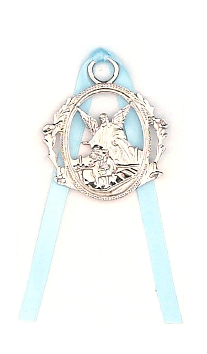 Children's Silver Tone Guardian Angel Crib Medal with Light Blue Ribbon.