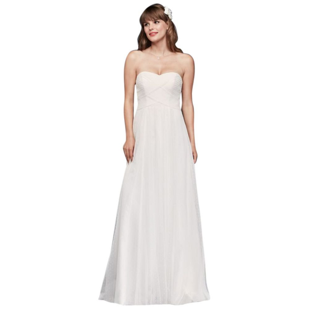 Swiss Dot Tulle Empire Waist Soft Wedding Gown Style WG3438, White, 12