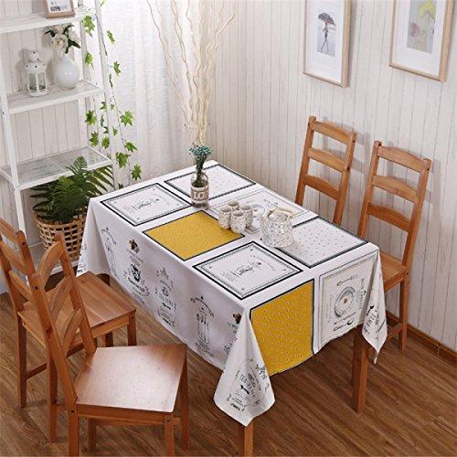 blanc 130180cm (51.270.9in) WJS Nappe Tissu Chemin de Table Nappe de Table Tissu Coton Nappe Nappe Nappe Table Basse Linge de Maison Tissu Ménage Rectangulaire (Blanc) (Couleur   blanc, Taille   130  180cm (51.2  70.9in))