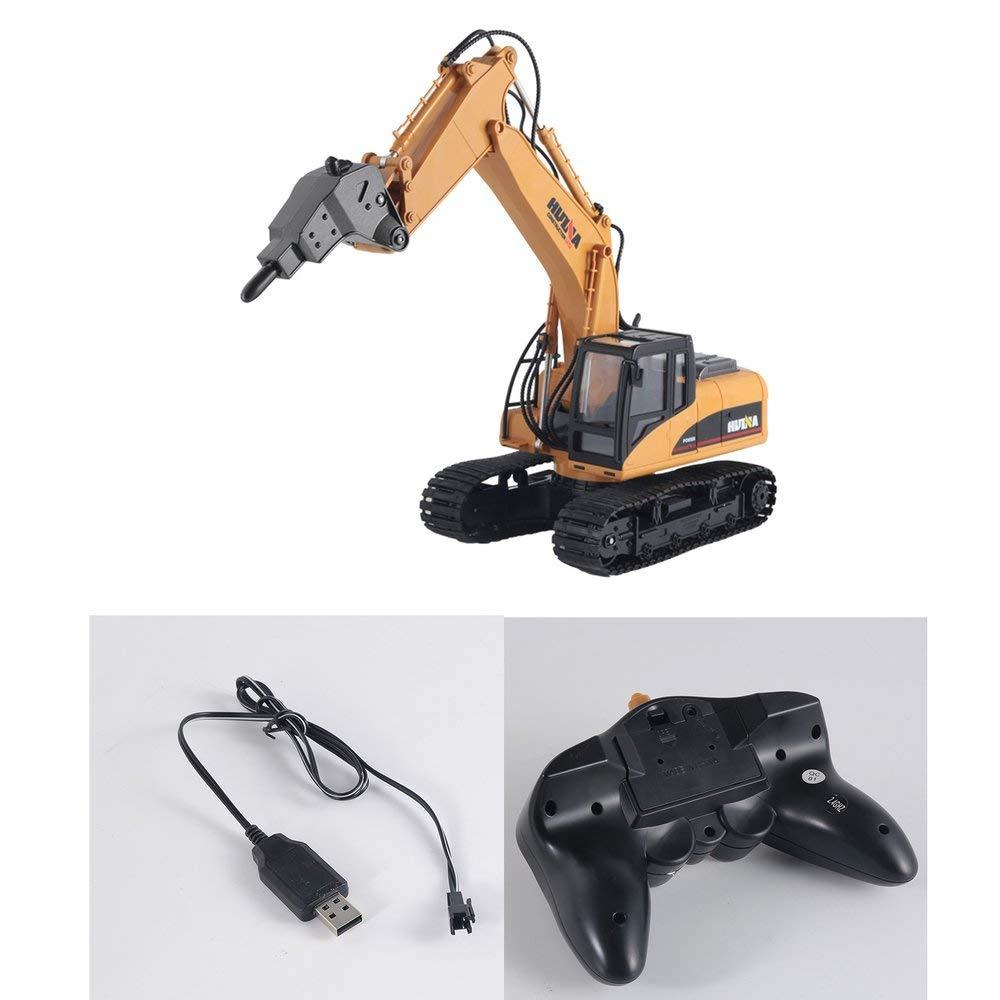 Erduo HUINA Toys 1560 1 14 16CH Lega RC RC Carrello Perforazione Ingegneria Costruzione Auto con Luce del Suono Ruota 680 ° RTR - Marronee