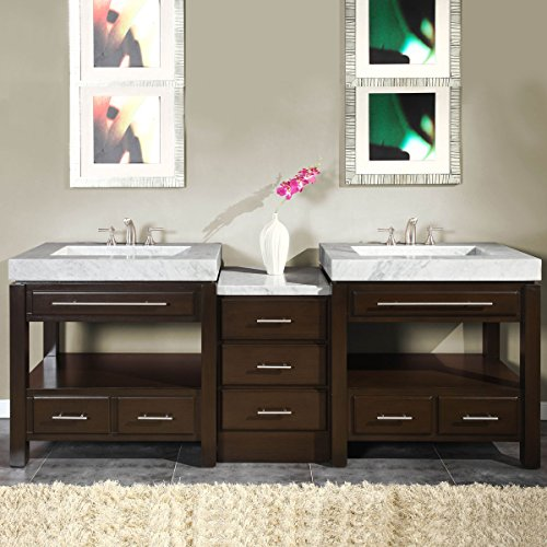 Silkroad Exclusive Countertop Marble Stone Sink Bathroom Vanity with Cabinet, 92-Inch (Bath Vanity 92)