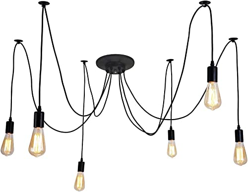 6 Lights 1.8M Industrial Chandelier Loft Light Spider Hardwired Rustic Vintage Industrial Loft Chandelier Ceiling Light