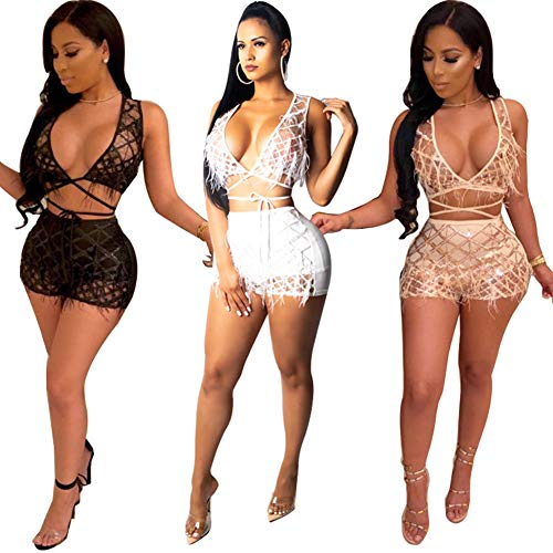 ECHOINE Womens Sparkle 2 Piece Outfits - Sexy Deep V Neck Bandage Jumpsuit Party Clubwear Black (Outfits Party)