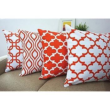 orange accent pillows. Howarmer Canvas Cotton Orange Decorative Throw Pillows Covers Set Of 4 -Geometric Quatrefoil,ogee Accent T