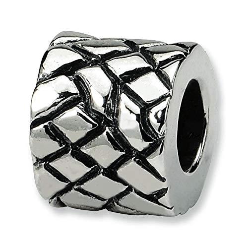 Sterling Silver Reflection Basket Weave Bali Bead (Bali Weave Bracelet)