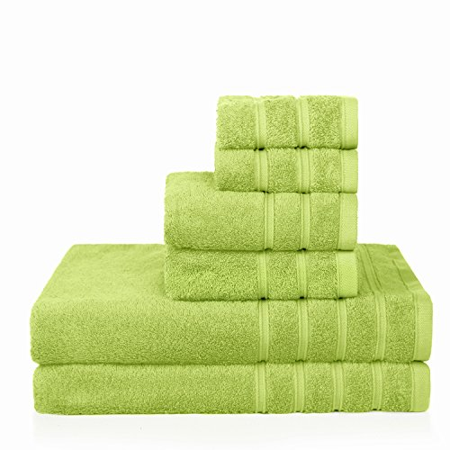 Hand Bright Green (PROMIC 100% Cotton Luxury Hotel & Spa Bath Towel Set, 6 Piece Includes 2 Bath Towels, 2 Hand Towels, and 2 Washcloths, Highly Absorbent and Softness, Fade-resistant, Green)