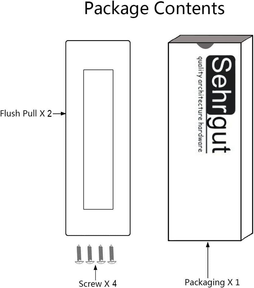 Free of Sharp Edge 5 Pack 6 Rectangular-Satin Brushed Sehrgut Flush Pull