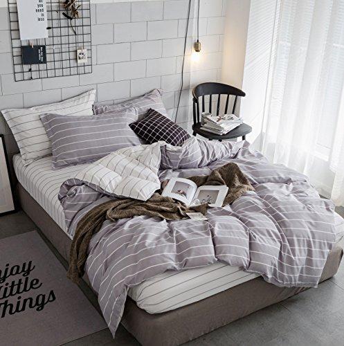 ZHIMIAN Bedding Reversible 2 Piece Striped Print Duvet Cover Set with Zipper Closure(1 Duvet Cover + 1 Pillow Shams)(Twin,Lightgrey With (2 Piece Pillow Set)