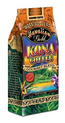 Hawaiian Gold Kona, Mauna Loa Sunrise Breakfast Blend Coffee, 10-Ounce (Pack of 3)