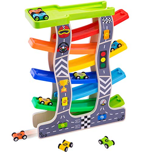 iPlay, iLearn Wooden Ramp Race Car, Track Parking Garage Set, Learning N Activity Playset with Assorted 8 Wood Racers, Mini Cars Gifts for 2, 3, 4, 5 Year Old Boys, -