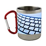 Stainless steel mug with carabiner handle with Keyboard, Computer, Hardware, Keys