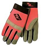 Meta-MIner 491LB Hi-Viz Professional Deer Suede Mechanics Glove, L, Gray Palm, Fluorescent Orange Spandex Back