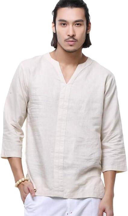 Helisopus - Camiseta de manga 3/4 para hombre, de lino, holgada, de algodón, cuello en V