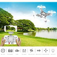 ECLEAR RC Mini Drone, 4 Channel 2.4GHz 6-Axis Gyro Aircraft with HD Camera LED Lights + WiFi FPV Headless Mode 3D Roll Remote Control Quadcopter Toys For Adult Kids, Silver