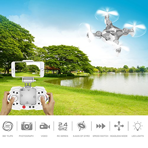 RC Mini Drone, JJRC 4 Channel 2.4GHz 6-Axis Gyro Aircraft with HD Camera LED Lights + WiFi FPV Headless Mode 3D Roll Remote Control Quadcopter Toys For Adult Kids, by ECLEAR - Silver