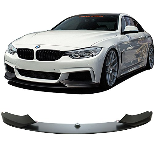 Front Bumper Lip Fits 2014-2016 BMW F32 4 Series | M-Performance Style Unpainted Raw Material Black PP Front Lip Finisher Under Chin Spoiler Add On by IKON MOTORSPORTS | 2015