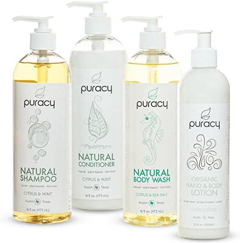 Puracy Natural and Organic Personal Care Set, Sulfate Free Body Wash, Shampoo, Conditioner, Body Lotion, Developed by Doctors, (Pack of 4)