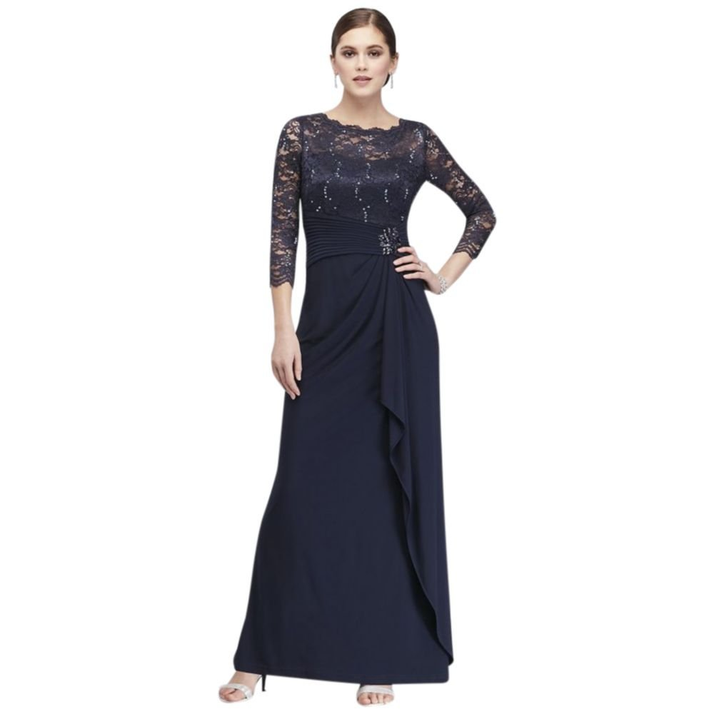 88fa3a41eb5f Long-Sleeve Lace and Jersey Cascade Mother of Bride Groom Dress Style  59371D at Amazon Women s Clothing store