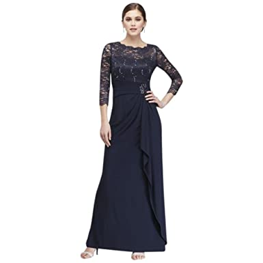 ce732933fa Long-Sleeve Lace and Jersey Cascade Mother of Bride Groom Dress Style  59371D at Amazon Women s Clothing store