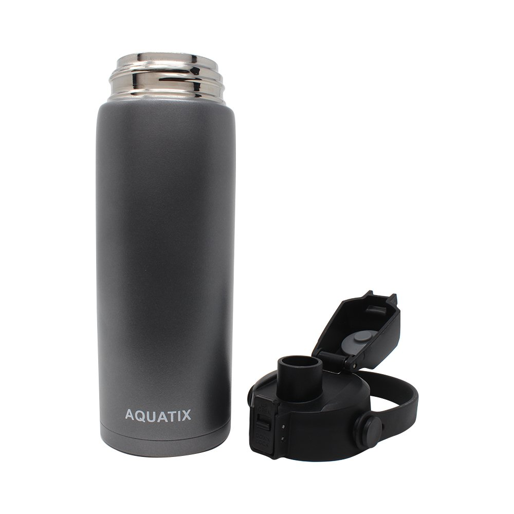 Keeps Drinks Cold 24 hr//Hot 6 hr Platinum Grey, 21 Ounce New Aquatix Pure Stainless Steel Double Wall Vacuum Insulated Sports Water Bottle Convenient Flip Top Cap with Removable Strap Handle