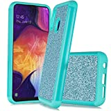 Customerfirst Case for Samsung Galaxy A20 / A30 Cute Glitter Bling Sparkle Dual Layer Protective Hybrid Shockproof Girls Bumper Galaxy A20/A30 [Includes Screen Protector] + Emoji! (Teal)