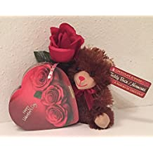 Valentine's Day Heart! A Chocolate Scented Bear, Elmers Chocolates and a Rose (brown)