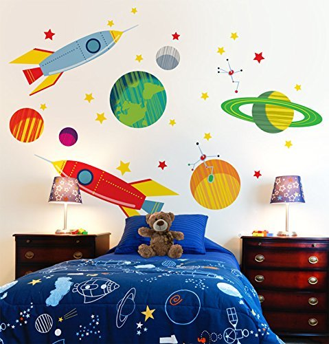 Oopsy Daisy Galactic Travels Peel and Place, Green/Orange, 54 x 45 by Oopsy Daisy