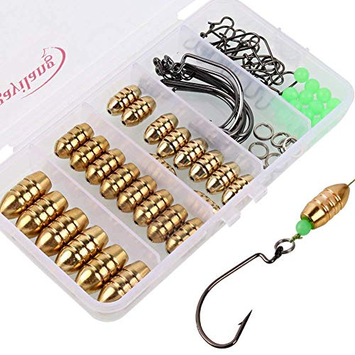 Sougayilang Fishing Sinkers Set with Brass Sinker Weights Jig Hooks Fishing Swivel Ring Connector Plastic Box for Freshwater Saltwater Bass Fishing (Bass Medium Weight)