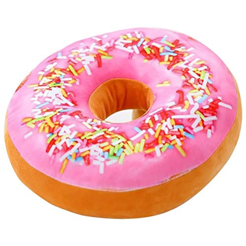 ChezMax Round Doughnut Donut Seat Back Stuffed Cushion Insert Filler Filling Throw Pillow Plush Play Toy Doll for Drawing Living Dinning Family Room Pink Icing Sugar 16 X 16'' (Pillows Throw Get To Cute Where)