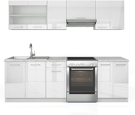 Cocina de 240 cm - 7 módulos de armario que se pueden combinar libremente - cocina funcional - mucho brillo: Amazon.es: Juguetes y juegos