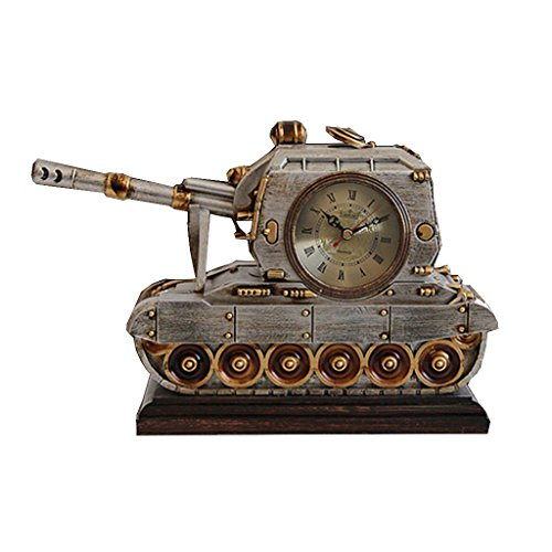 ZAZAZA Health UK Clock- Clock Resin Tank Modeling Classical Mute Sitting Bell Entrance Antique Art Desk Clock With Thermometer Welcome by ZAZAZA