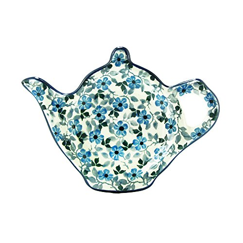 Polish Pottery Handmade Teapot Teabag Holder Traditional Stoneware Pattern 766-2008 by Polish Pottery Ceramika