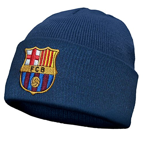 FC Barcelona Official Football Soccer Gift Knitted Bronx Beanie Hat Crest Navy