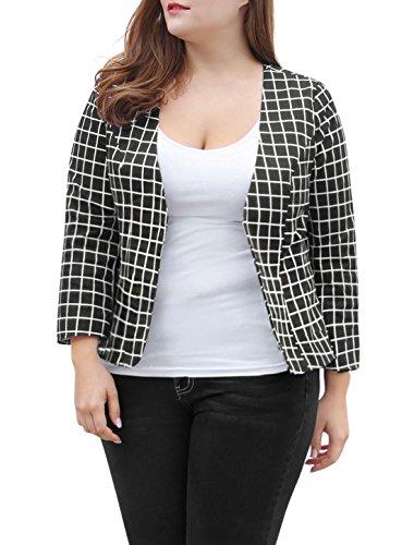 Agnes Orinda Women's Plus Size Open Front Plaids Slim Fit Blazer 1X ()