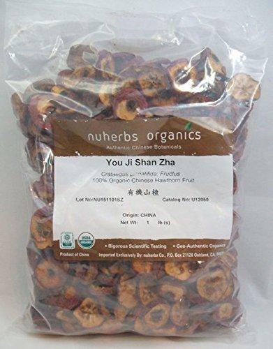 Organic Chinese Hawthorn Fruit - You Ji Shan Zha - Cut form, 1 Pound