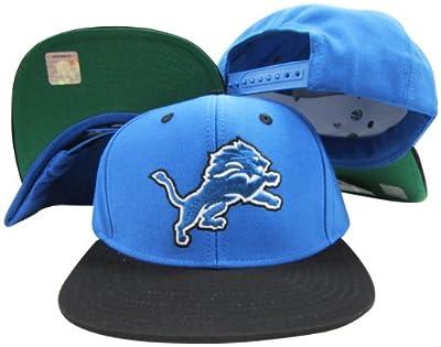 Reebok Detroit Lions Blue/Black Two Tone Snapback Adjustable Plastic Snap Back Hat/Cap