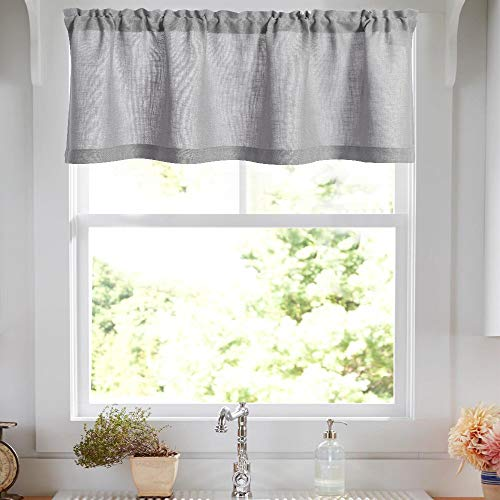 Linen Valance 15 inches Long Rod Pocket Kitchen Grey Window Treatments Living Room 1 Panel ()