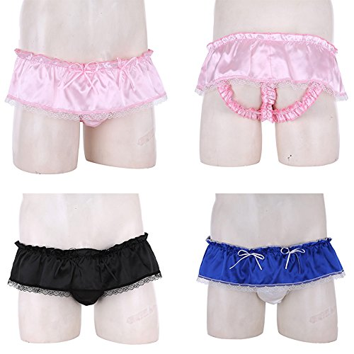 42f888ac3174 ACSUSS Men's Satin Frilly Underwear Ruffled Sissy Crossdress Skirted  Panties < Briefs < Clothing, Shoes & Jewelry - tibs