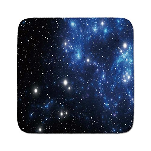 Cozy Seat Protector Pads Cushion Area Rug,Constellation,Outer Space Star Nebula Astral Cluster Astronomy Theme Galaxy Mystery,Blue Black White,Easy to Use on Any Surface