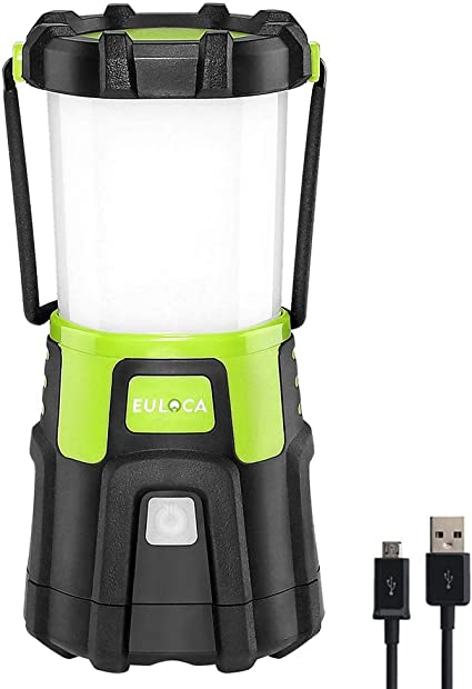 EULOCA Lámpara Camping LED, 1200lm USB Recargable, 4 Modos, Linterna de Camping Recargable Intensidad Regulable, Linterna Camping para Pesca, ...