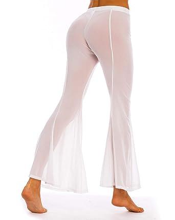 63f2f20b93 Coskaka Women's Beach Pants See Through Sexy Swimsuit Bikini Cover up mesh  Sheer Pants White M