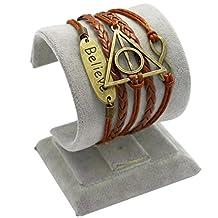 Wandafull Leather Link Bracelets Friendship Death Artifact Believe