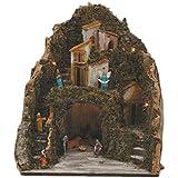 Viscio Trading 173030 Presepe con Nativita 9Pz con Casette, Legno, Multicolore, 35.5X30X42 cm