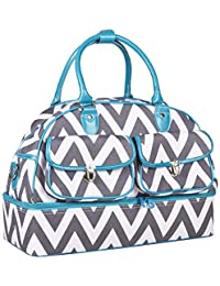 Ever Moda Blue Grey Chevron Duffle Bag 17-inch