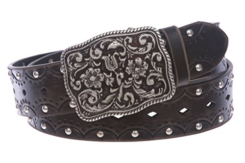 Women's Studded Western Floral Perforated Embossed Leather Belt Size: L/XL - 40 (Perforated Floral Belt)
