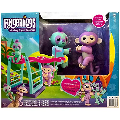 WOW Monkey Bar & Swing Playset w/ Two Cute & Brightly Colored Fingerlings, Monkey Savannah & Sloth Clara - Interactive Finger Toys Great for Hours of Fun for Kids