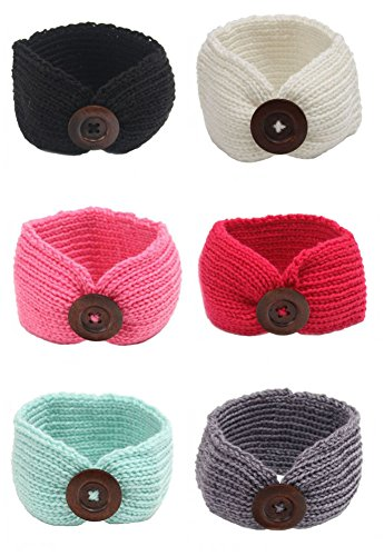 Gellwhu 6-Pack Baby Boy Girl Button Headbands Knit Head Wrap Knotted Hair Band (6 Colors Set (Winter Headbands For Girls)