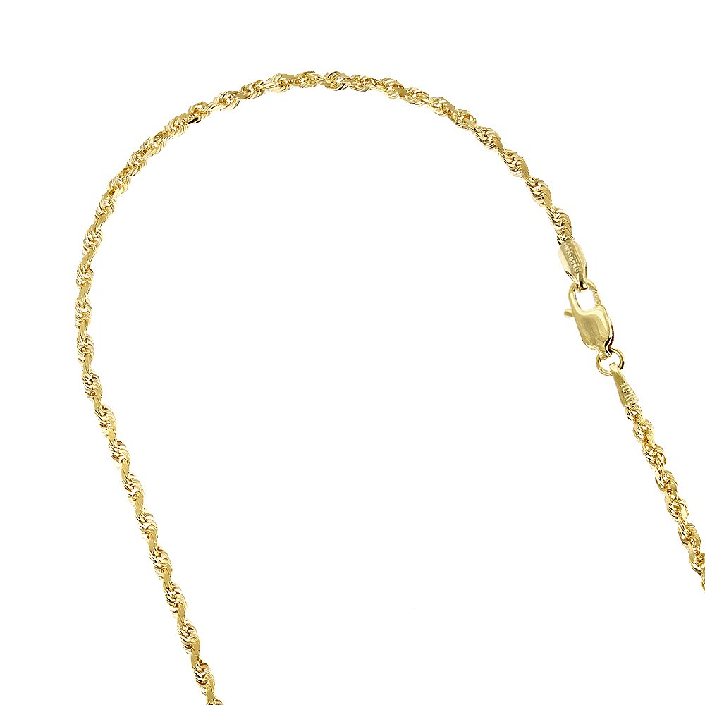 IcedTime 10K Yellow Gold 2.5mm Wide Sparkle Rope Hollow Chain Link Bracelet Anklet Lobster Clasp 10'' long