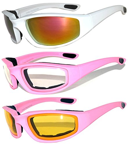 3 pairs of Womens Pink Padded Foam Motorcycle Biker Glasses Goggles 99% UV protection (MP-3pairs-Clear-Silver-Yellow, - Sunglasses Motorcycle Riding Womens